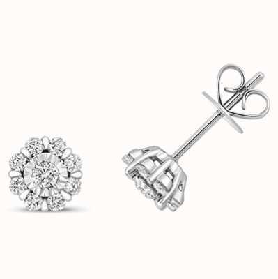 Treasure House 9k White Gold Illusion Cluster Diamond Stud Earrings ED324W