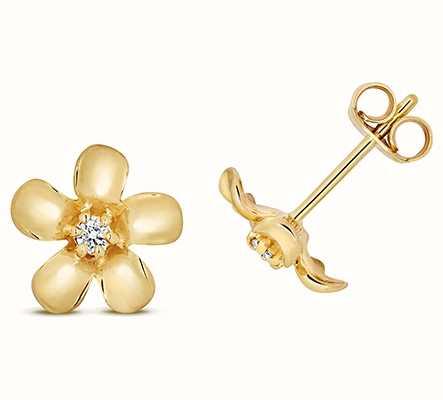 Treasure House 9k Yellow Gold Diamond Daisy Stud Earrings ED329