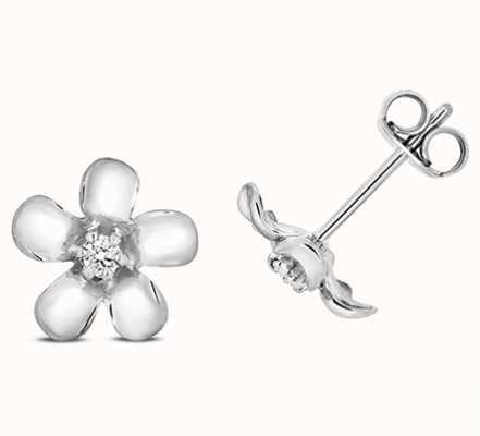 Treasure House 9k White Gold Diamond Daisy Stud Earrings ED329W