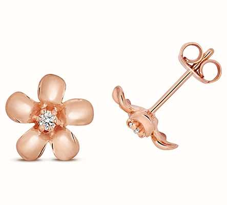 Treasure House 9k Rose Gold Diamond Daisy Stud Earrings ED329R