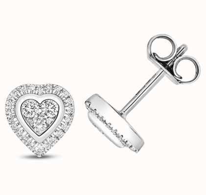 Treasure House 9k White Gold Heart Diamond Cluster Stud Earrings ED331W