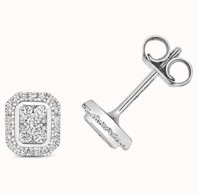 Treasure House 9k White Gold Emerald Shape Diamond Cluster Stud Earrings ED332W