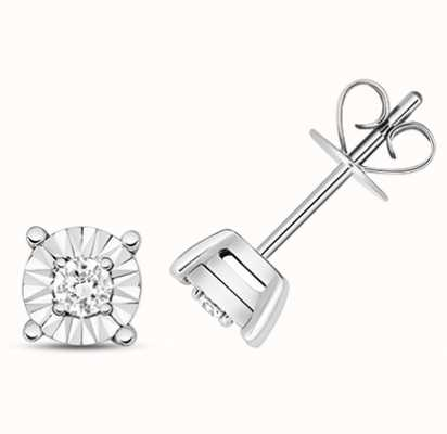 Treasure House 9k White Gold Illusion Set Diamond Stud Earrings ED333W
