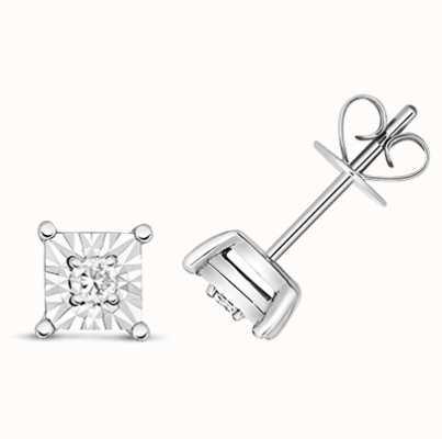 Treasure House 9k White Gold Square Illusion Set Diamond Stud Earrings ED334W