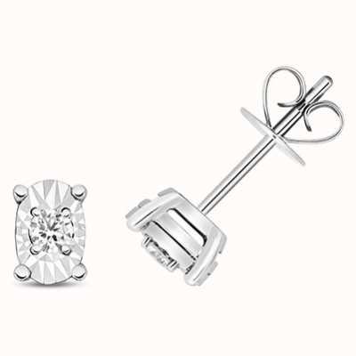 Treasure House 9k White Gold Oval Illusion Set Diamond Stud Earrings ED335W
