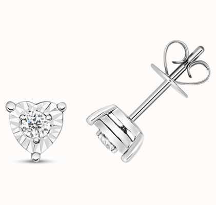 Treasure House 9k White Heart Oval Illusion Set Diamond Stud Earrings ED336W