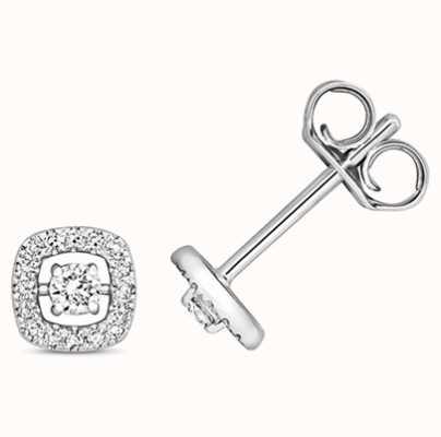 Treasure House 9k White Gold Diamond Stud Earrings ED340W
