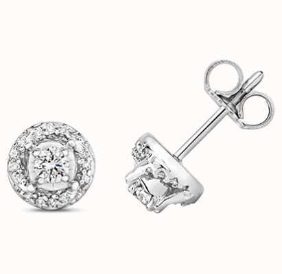 Treasure House 9k White Gold Diamond Stud Earrings ED341W