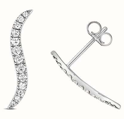 Treasure House 9k White Gold Diamond Climber Earrings ED342W
