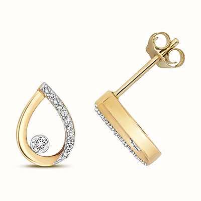 Treasure House 9k Yellow Gold Diamond Pear Stud Earrings ED344