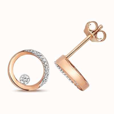 Treasure House 9k Rose Gold Diamond Circle Stud Earrings ED343R