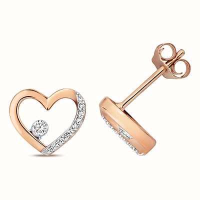 Treasure House 9k Rose Gold Diamond Heart Stud Earrings ED345R