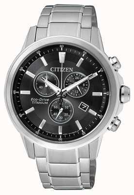Citizen | Mens Eco-Drive Titanium WR100 | Black/Grey Dial | AT2341-88E
