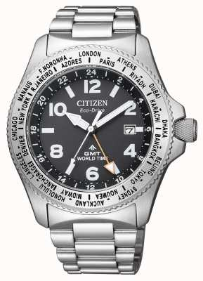 Citizen | Mens Eco-Drive Promaster GMT |Black Dial | Stainless Steel BJ7100-82E