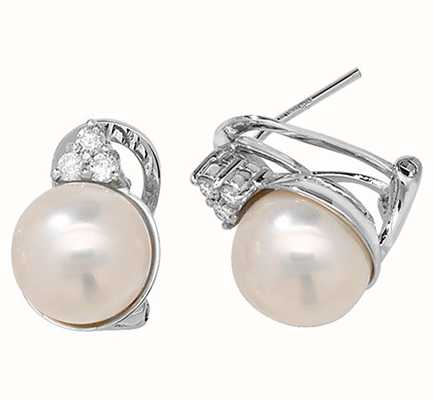 Treasure House 18k White Gold Diamond Pearl Stud Earrings EDQ211W