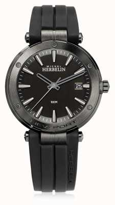 Michel Herbelin | Mens Newport | Black Rubber Strap | Black Dial | 12288/G33CA