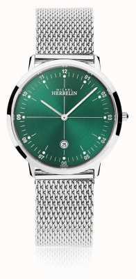 Michel Herbelin | Mens/Womens City | Silver Mesh Bracelet | Green Dial | 19515/16B