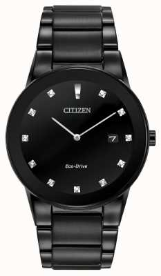 Citizen | Mens Axiom Eco-Drive | Black Diamond Dial | Black Bracelet AU1065-58G