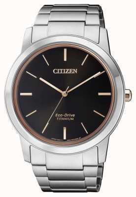 Citizen | Mens Eco-Drive Titanium WR50 | Black Dial |Silver Bracelet AW2024-81E