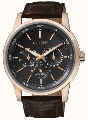 Citizen | Mens Eco-Drive | Brown Leather Strap | Black Chrono Dial | BU2013-08E