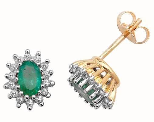 Treasure House 9k Yellow Gold Emerald Diamond Cluster Stud Earrings ED231E