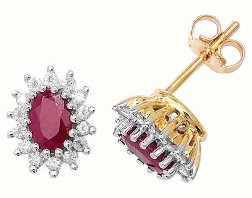 Treasure House 9k Yellow Gold Ruby Diamond Cluster Stud Earrings ED231R
