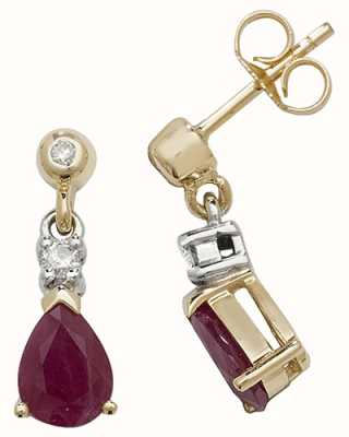 Treasure House 9k Yellow Gold Ruby Diamond Drop Earrings ED245R