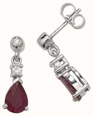 Treasure House 9k White Gold Ruby Diamond Drop Earrings ED245WR