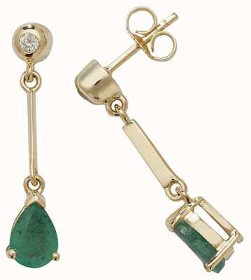 Treasure House 9k Yellow Gold Emerald Diamond Pear Drop Earrings ED246E