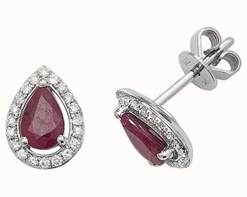 Treasure House 9k White Gold Teardrop Diamond Ruby Halo Stud Earrings ED248WR
