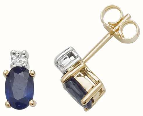 Treasure House 9k Yellow Gold Oval Sapphire Diamond Stud Earrings ED249S