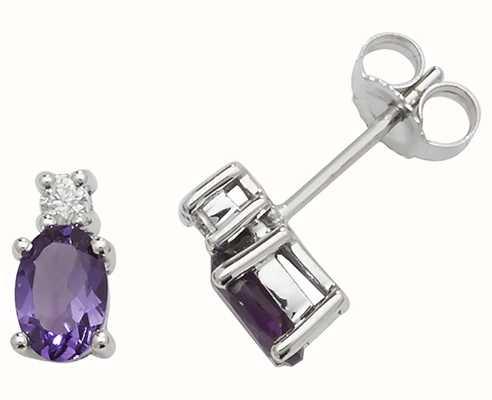 Treasure House 9k White Gold Oval Amethyst Diamond Stud Earrings ED249WA