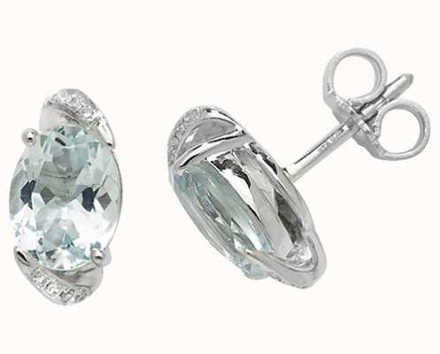 Treasure House 9k White Gold Oval Aquamarine Diamond Stud Earrings ED250WAQ