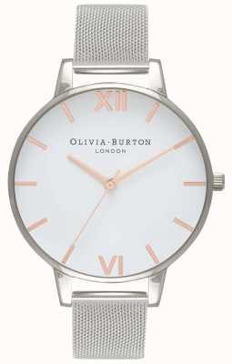 Olivia Burton | Womens | White Dial | Silver Mesh Bracelet | OB16BD97
