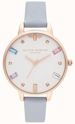 Olivia Burton   Womens   Rainbow Bee   Demi Chalk Blue Strap   OB16RB12