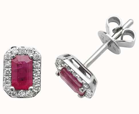 Treasure House 9k White Gold Octagon Ruby Diamond Stud Earrings ED251WR