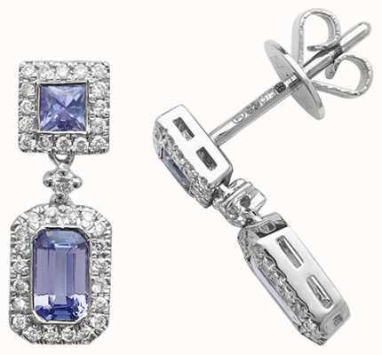 Treasure House 9k White Gold Diamond Tanzanite Drop Earrings ED253WT