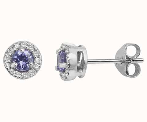 Treasure House 9k White Gold Diamond Tanzanite Stud Earrings ED255WT