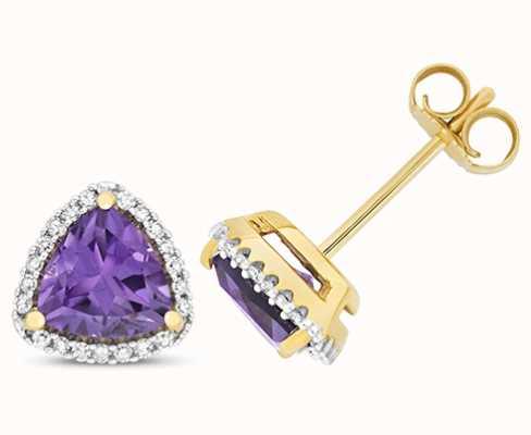 Treasure House 9k Yellow Gold Diamond Amethyst Trillion Stud Earrings ED256A