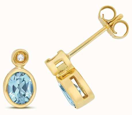 Treasure House 9k Yellow Gold Diamond Blue Topaz Stud Earrings ED260BT