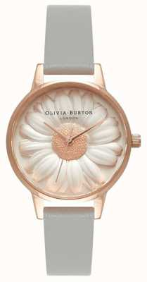 Olivia Burton | Womens | 3D Daisy | Grey Leather Strap | OB15EG50