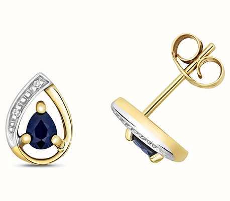 Treasure House 9k Yellow Gold Diamond Sapphire Stud Earrings ED261S