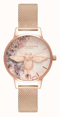 Olivia Burton | Womens | Watercolour Florals Bee | Rose Gold Mesh | OB16PP40