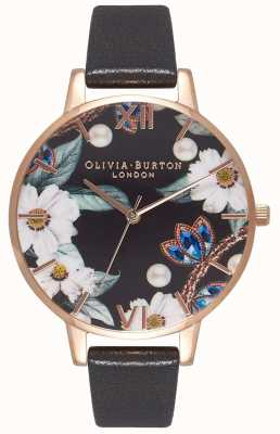 Olivia Burton | Womens | Bejewelled Florals | Black Leather Strap | OB16BF04