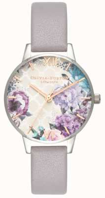 Olivia Burton | Womens | Glasshouse | Lilac Grey Leather Strap | OB16EG104