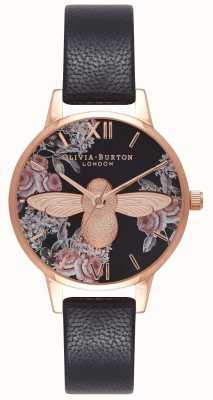 Olivia Burton | Womens | Botanical 3D Bee | Black Leather Strap | OB16AM100