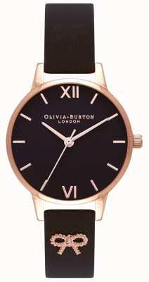 Olivia Burton | Women's | Black Dial | Vintage Bow Black Strap | OB16VB07