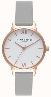 Olivia Burton Womens | White Dial | Grey Strap OB16MDW05
