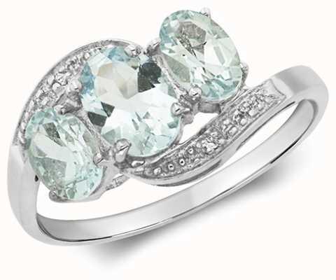 Treasure House 9k White Gold 3 Stone Diamond Aquamarine Ring RD212WAQ