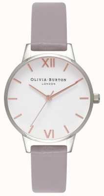 Olivia Burton   Womens   White Dial   Grey Lilac Leather Strap   OB16MDW26